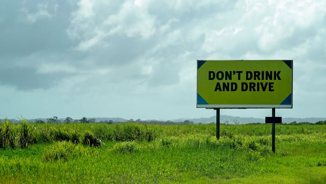 Don't Drink and Drive Sign in FIeld